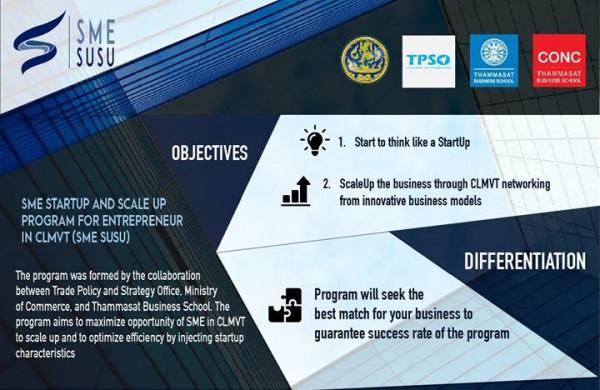 Thammasat Business School ร่วมกับ สำนักงานนโยบายและยุทธศาสตร์การค้า รับสมัครผู้ประกอบการไทย รุ่นละ 12 คน เพื่อสร้างเครือข่ายให้กับผู้ประกอบการในประเทศกลุ่ม CLMVT